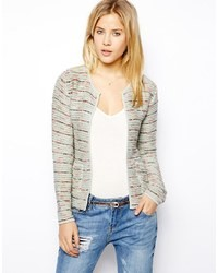 Asos Blazer In Pastel Stripe Boucle Multi