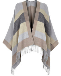 River Island Grey Stripe Blanket Cape
