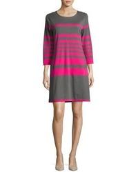 Joan Vass Striped Cotton Two Pocket Shift Dress Graypink