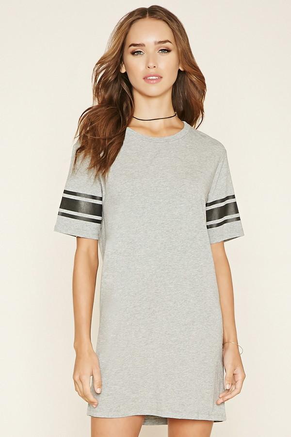 5fe93f7e5443 Varsity Striped T Shirt Dress. Grey Horizontal Striped Casual Dress by Forever  21