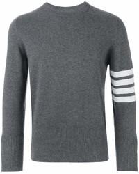 Thom Browne Crewneck Pullover With 4 Bar Stripe In Medium Grey Cashmere