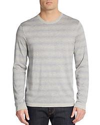Saks Fifth Avenue Dot Striped Cashmere Silk Sweater