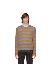 Dries Van Noten Grey And Orange Striped Sweater