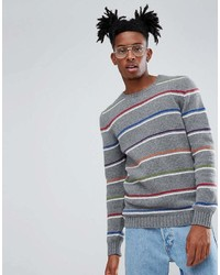 Asos Lambswool Sweater With Fine Stripes