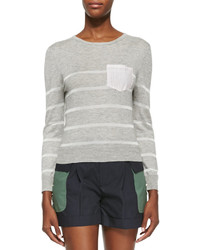 Band Of Outsiders Long Sleeve Knitted Striped Sweater
