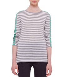 Long sleeve striped colorblock sweater silvergrayspearmint medium 371852
