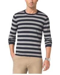 Michael kors striped cotton crewneck sweater medium 395424