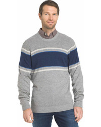 Izod Regular Fit Striped Wool Blend Crewneck Sweater