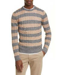 Eleventy Slim Fit Cable Knit Linen Cotton Crewneck Sweater