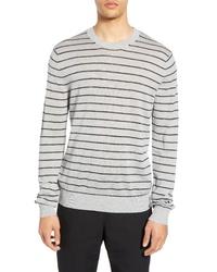 Vince Stripe Crewneck Wool Linen Sweater