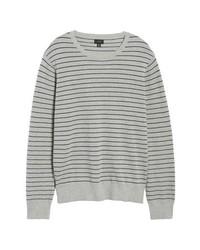 J.Crew Stripe Pique Cotton Cashmere Crewneck Sweater