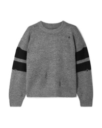 Current/Elliott The Yates Distressed Striped Knitted Sweater
