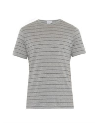 Grey Horizontal Striped Crew-neck T-shirt