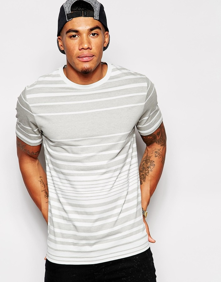 ... Asos Brand Stripe T Shirt With Relaxed Skater Fit ...