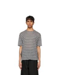 Saint Laurent Grey Striped Surfer T Shirt