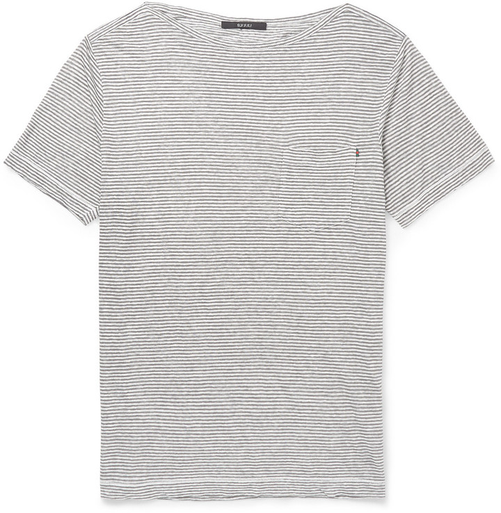 afe10b43aef ... Crew-neck T-shirts Gucci Striped Linen Jersey T Shirt ...