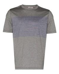 Canali Stripes Print Short Sleeve T Shirt