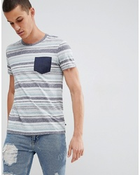 Esprit T Shirt With Multi Stripe And Contrast Pocket