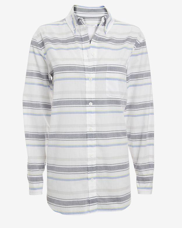 Grey horizontal striped dress shirt equipment margaux for Horizontal striped dress shirts men