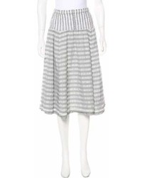 Grey Horizontal Striped Full Skirt