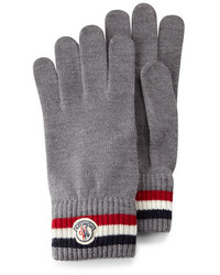 Moncler Striped Logo Cashmere Knit Gloves