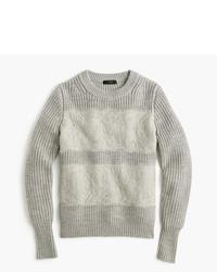 J.Crew Collection Lace Stripe Crewneck Sweater