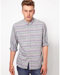 J lindeberg j lindeberg shirt horizontal stripe grey medium 25125