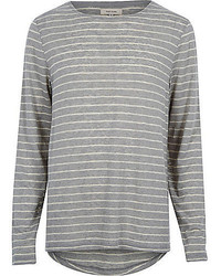 River Island Grey Stripe Curved Hem T Shirt T Shirt