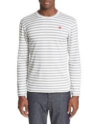 Comme des Garcons Play Long Sleeve Stripe Crewneck T Shirt