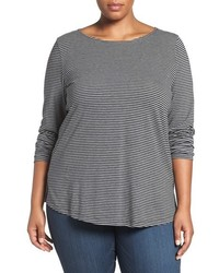 Plus size stripe ballet neck long sleeve tee medium 793528