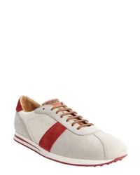 Tod's Grey Suede And White Canvas Lace Up Sneakers