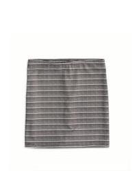 Grey Horizontal Striped Mini Skirt