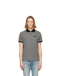 Saint Laurent Black And Grey Striped Polo