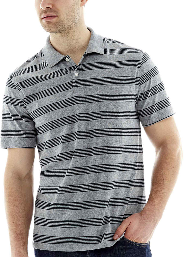 Jcpenney st johns bay short sleeve heather stripe jersey for Jcpenney ladies polo shirts