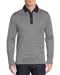 Saks Fifth Avenue Striped Long Sleeve Polo
