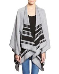 Grey Horizontal Striped Poncho
