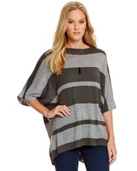 RD Style Bold Stripe Print Poncho Sweater