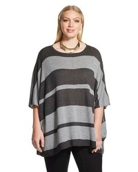 Nitrogen Plus Size Striped Poncho