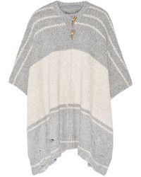 Striped alpaca blend poncho gray medium 344651