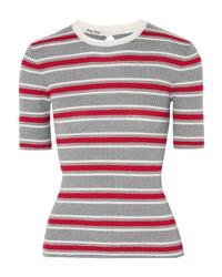 Miu Miu Striped Ribbed Wool Sweater