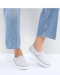 ASOS DESIGN Dab Wide Fit Stripe Plimsolls Stripe