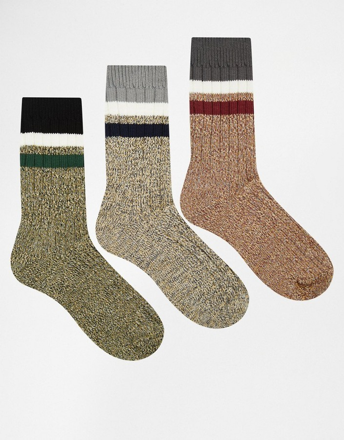Asos Boot Socks 3 Pack With Stripes