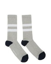 Norse Projects Grey Cotton Bjarki Sports Socks