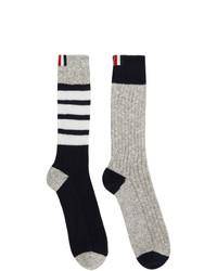 Thom Browne Navy And Grey Chunky Rib 4 Bar Mid Calf Socks