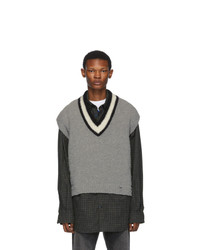 Off-White Grey And Wool Varsity Sleeveless Sweater