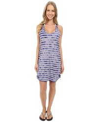 Speedo Tie Dye Stripe Shirred Tank Dress Cover Up