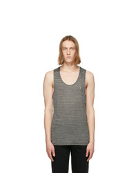 Saint Laurent Black And Grey Striped Monogram Tank Top