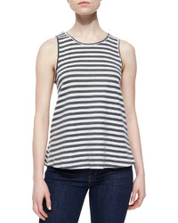 Lovers + Friends Striped Layered Open Back Tank Heather Gray