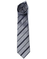 Grey Horizontal Striped Tie
