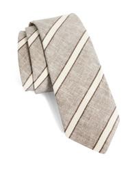 Brunello Cucinelli Stripe Linen Silk Tie